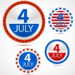 Stok Vektör: Set of 4th July labels, vector