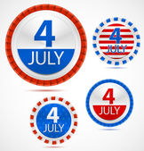 Set of 4th July labels, vector — 图库矢量图片