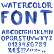 Handwritten blue watercolor alphabet — Vector de stock #10980968