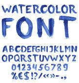 Handskrivna blå akvarell alfabetet — Stockvektor