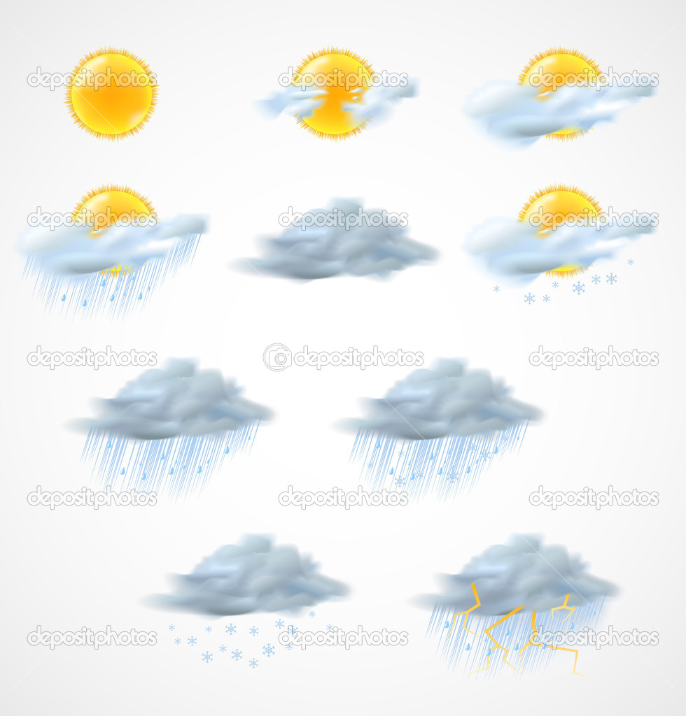 High quality weather icons set. Vector illustration — Stock Vector #11800486