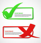 Green and red check mark banners — Stock Vector