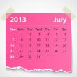 Stock Vector: 2013 calendar july colorful torn paper