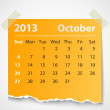 Stock Vector: 2013 calendar october colorful torn paper