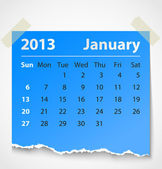 2013 calendar january colorful torn paper — Wektor stockowy