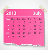 2013 calendar july colorful torn paper — Stock Vector