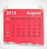 2013 calendar august colorful torn paper — Stock Vector