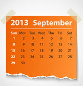 2013 calendar september colorful torn paper — Stock Vector
