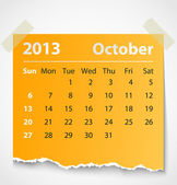 2013 calendar october colorful torn paper — Stock Vector