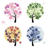 Four season trees isolated on white — Stock Vector