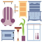 Illustration of furniture for the interior isolated — Stock Vector
