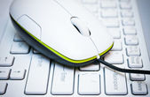 Computer mouse on the laptop — Stock Photo