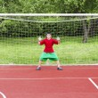Stock Photo: Boy standing in football goal