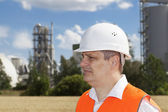Engineer near the factory — Stock Photo