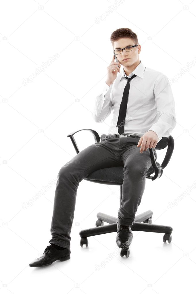 Image of a young man talking cellphone — Stock Photo #10741566