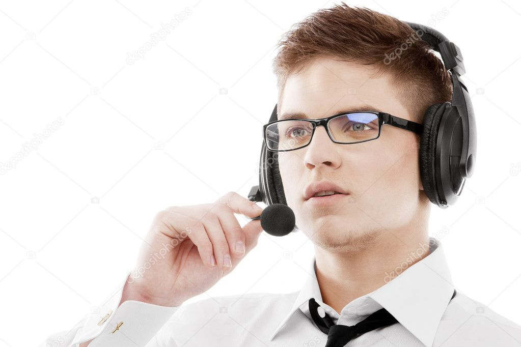 Image of a young man in headset — Stock Photo #10741589