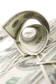 Rolled dollars on white — Stock Photo