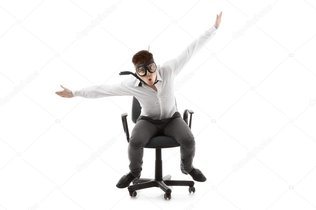 Image of a funny young man on chair  Stok fotoraf #11329394