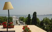 Sea view from the balcony of the hotel. Baku. Azerbaijan. — Stock Photo