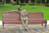 Iron sculpture of the photographer. Baku. Azerbaijan. — Stock Photo