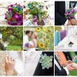Garden party wedding - collage of images  — Stockfoto