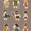 Cartoon Caveman stickers - Image vectorielle