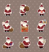 Cartoon santa claus Christmas stickers — Stock Vector