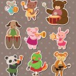 Stock Vector: Animal play music stickers