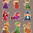 Stock Vector: Cartoon Wizard and Witch stickers