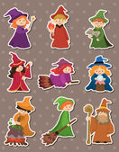 Cartoon Wizard and Witch stickers — Stock Vector
