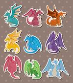 Fire dragon stickers — Stock Vector