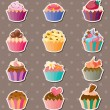 Cup-cake stickers — Stock Vector