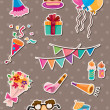 Stock Vector: Birthday stickers
