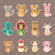 Stock Vector: 12 Chinese Zodiac animal stickers