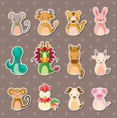 12 Chinese Zodiac animal stickers — Stock Vector
