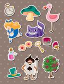 Alice in Wonderland stickers — Stock Vector