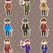Cartoon retro gentleman stickers - Stock Vector