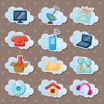Cloud web stickers — Stock Vector