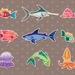 Fish stickers — Stock Vector