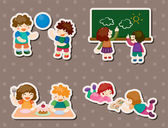 Kid playing stickers — Stock Vector
