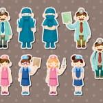 Cartoon doctor and nurse stickers — Stock Vector #11209926