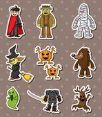 Halloween monster sitckers — Stock Vector