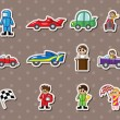 F1 car racing stickers — 图库矢量图片