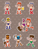 Cartoon wrestler stickers — Stock Vector