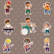 Rock music band stickers — Vector de stock #11637363