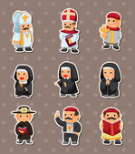 Cartoon priest stickers — Stock Vector