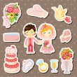 Cartoon wedding stickers — ストックベクタ