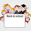 Group of cheerful student holding a banner ad - Stock Vector