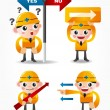 Funny cartoon worker icon set with arrow board — Stock Vector