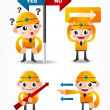 Royalty-Free Stock Vector Image: Funny cartoon worker icon set with arrow board